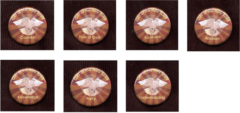 7 Gifts of the Holy Spirit Buttons